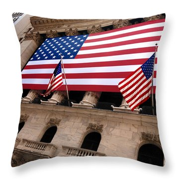New York Stock Exchange American Flag Throw Pillow by Amy Cicconi