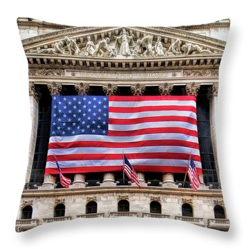 New York Stock Exchange Flag Throw Pillow