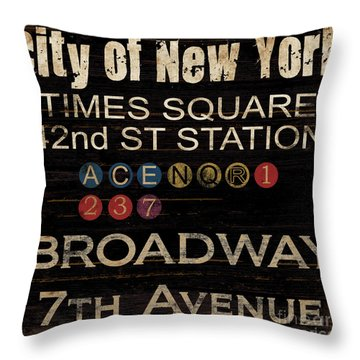 New York Subway Throw Pillow by Grace Pullen