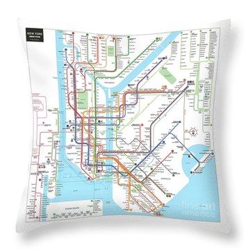 New York Subway Map Throw Pillow