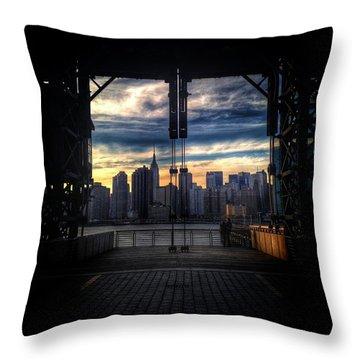New York Sunsets Throw Pillow