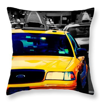 New York Taxi Throw Pillow by Christopher Woods