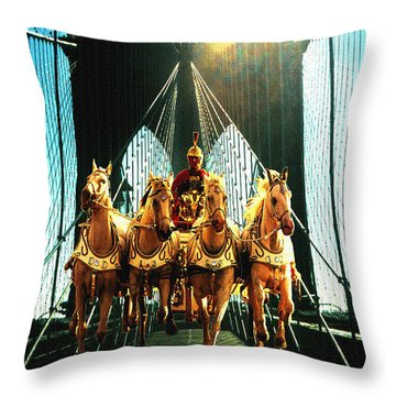 New York Time Machine - Fantasy Art Collage Throw Pillow by Art America Gallery Peter Potter