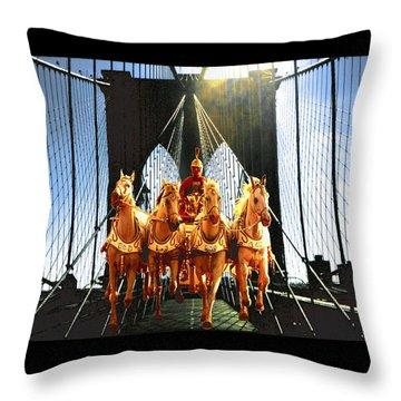 New York Brooklyn Bridge Fantasy Collage Throw Pillow