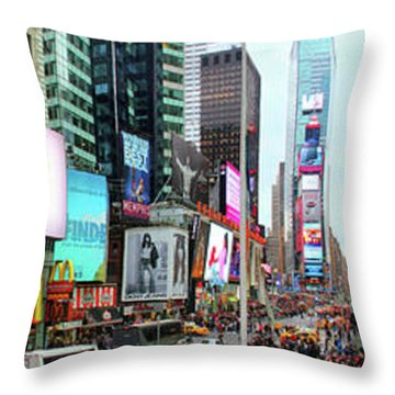 New York Times Square Panorama Throw Pillow