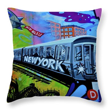 New York Train Throw Pillow