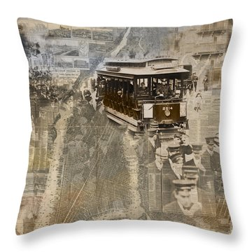 New York Trolley Vintage Photo Collage Throw Pillow by Karla Beatty