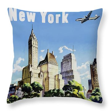 New York United Air Lines Throw Pillow by Mark Rogan