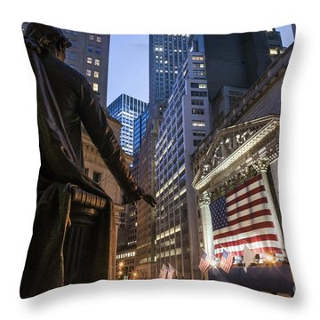 Throw Pillow featuring the photograph New York Wall Street by Juergen Held