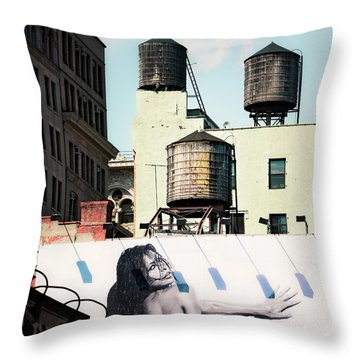 New York Water Towers 15 Throw Pillow