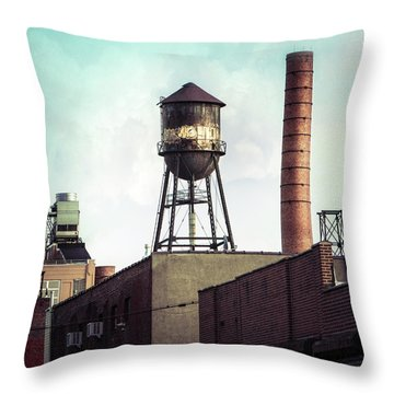 Throw Pillow featuring the photograph New York Water Towers 19 - Urban Industrial Art Photography by Gary Heller