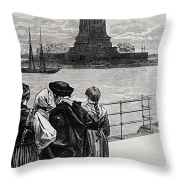 New York  Welcome To The Land Of Freedom Throw Pillow