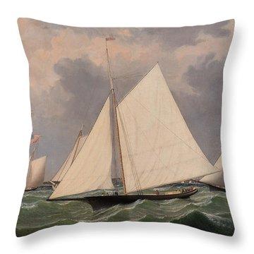 New York Yacht Club Regatta, 1856  Throw Pillow