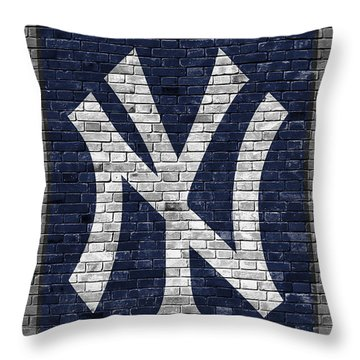 New York Yankees Brick Wall Throw Pillow