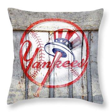 New York Yankees Top Hat Rustic 2 Throw Pillow