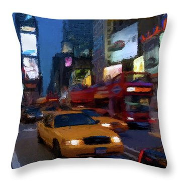 Throw Pillow featuring the painting New York Yellow Cab by David Dehner