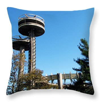 New York's 1964 World's Fair Observation Towers Throw Pillow