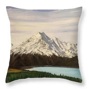 Throw Pillow featuring the painting New Zealand Lake by Kevin Daly