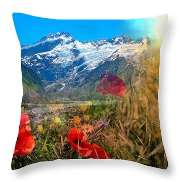 New Zealand Southern Alps Montage Throw Pillow