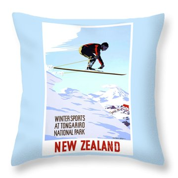 New Zealand Winter Sports Vintage Travel Poster Throw Pillow