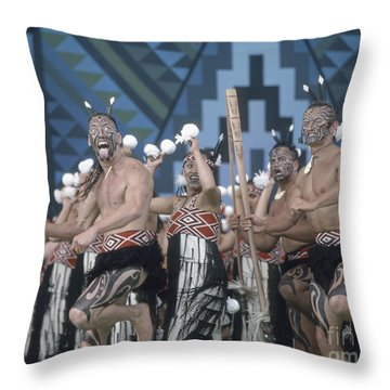 Throw Pillow featuring the photograph New Zealand,north Island,  Rotorua Arts Festival,dance And Singi by Juergen Held
