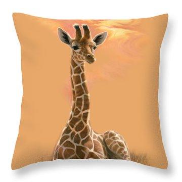 Newborn Giraffe Throw Pillow