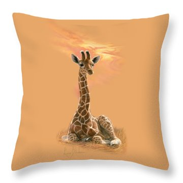 Newborn Giraffe Throw Pillow