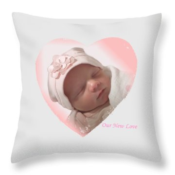 Newborn Pink Heart Throw Pillow