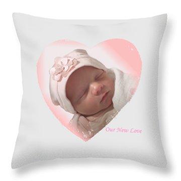 Newborn Pink Heart Throw Pillow by Ellen O'Reilly