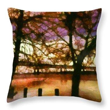 Newburgh Beacon Bridge Purple Skies Throw Pillow by Janine Riley