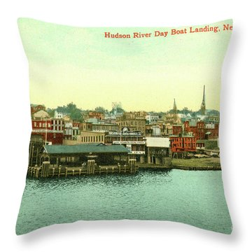 Newburgh Steamers Ferrys And River - 15 Throw Pillow