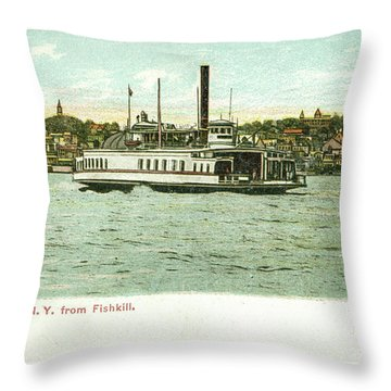 Newburgh Steamers Ferrys And River - 24 Throw Pillow