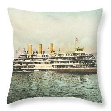Newburgh Steamers Ferrys And River - 30 Throw Pillow