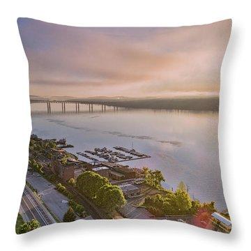 Newburgh Waterfront At Sunrise 3 Throw Pillow