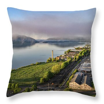 Newburgh Waterfront Looking South 2 Throw Pillow