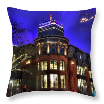 Throw Pillow featuring the photograph Newbury Street And The Prudential - Back Bay - Boston by Joann Vitali