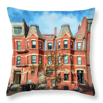 Newbury Street In Boston Throw Pillow