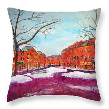 Newburyport Ma In Winter Throw Pillow