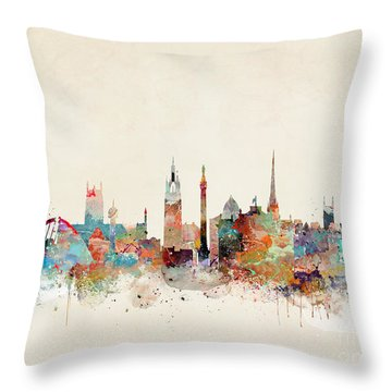 Throw Pillow featuring the painting Newcastle England by Bri B