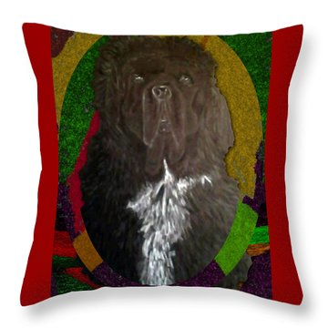 Throw Pillow featuring the drawing Newfie Colors by Michelle Audas