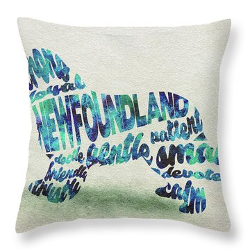 Throw Pillow featuring the painting Newfoundland Dog Watercolor Painting / Typographic Art by Ayse and Deniz