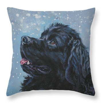 Newfoundland In Snow Throw Pillow by Lee Ann Shepard