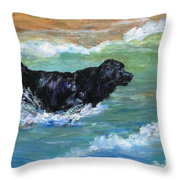 Newfoundland Water Trials Throw Pillow by Mary Jo Zorad
