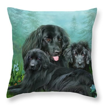 Throw Pillow featuring the mixed media Newfoundlander by Carol Cavalaris