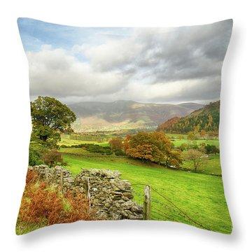 Newlands Valley Floor Cumbria Throw Pillow