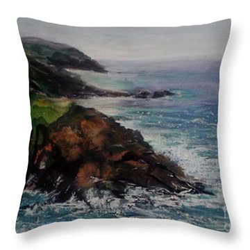 Newlyn Cliffs 2 Throw Pillow by Genevieve Brown