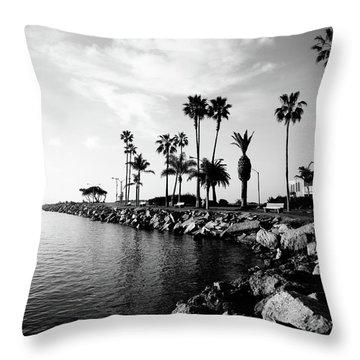 Newport Beach Jetty Throw Pillow