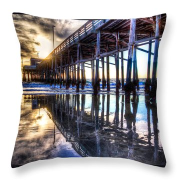 Newport Beach Pier - Reflections Throw Pillow