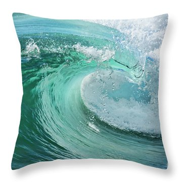 Throw Pillow featuring the photograph Newport Beach Wave Curl by Eddie Yerkish