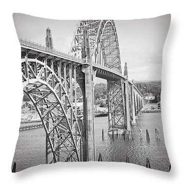 Newport Bridge In Black And White Throw Pillow by Janie Johnson